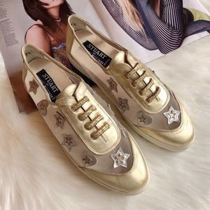 Stuart Weitzman Gold Leather Stars Sneakers 8.5